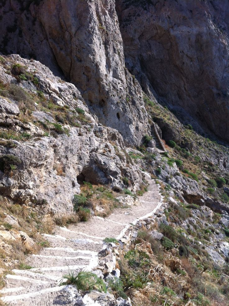 The footpath to ancient Thira is easy to climb or for the more adventurous, run. This path will take you to a beautiful church. Not to be missed.