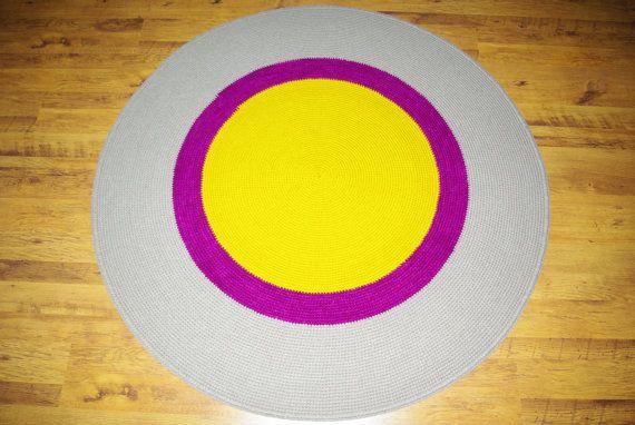 Large crochet round rug 64'' 164 cm/Crochet by AnuszkaDesign, $160.00
