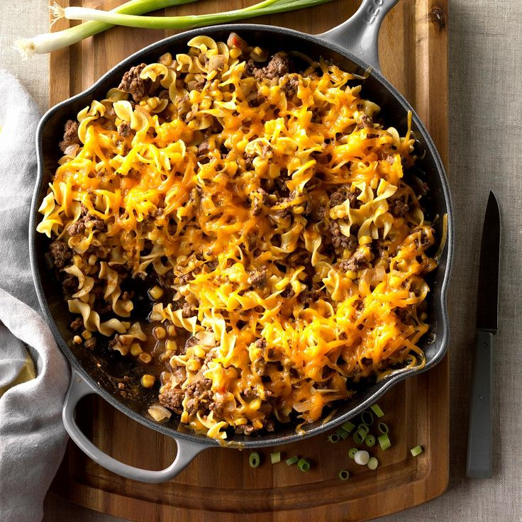 Beef Skillet Supper Recipe -Sometimes, I'll make extra of this comforting, noodle-y supper to guarantee leftovers. It's a great take-along dish for work or school. Trim calories from the entree by substituting ground turkey for the beef and low-fat cheese. —Tabitha Allen, Cypress, Texas