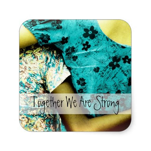 Together We Are Strong! Woman and child hugging each other / Square Stickers, sheet of 20 #fomadesign