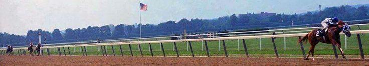 Panoramic view of Secretariat's Belmont victory.