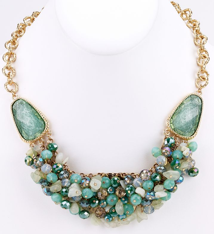 Bead Cluster Statement Necklace