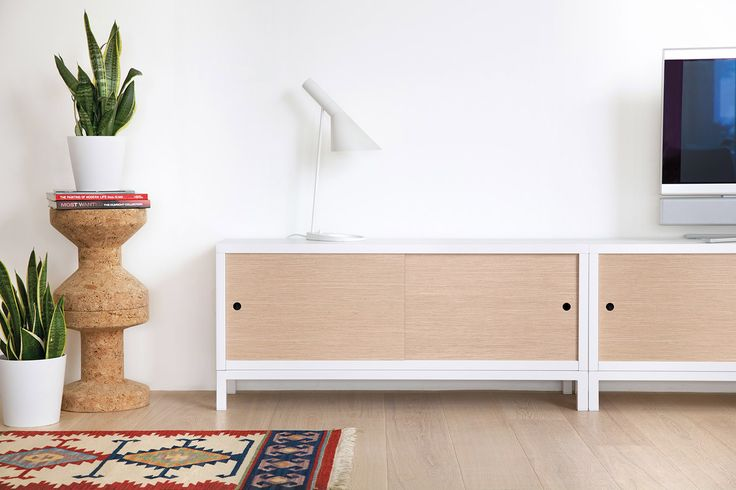 A clever solution to have your TV is the STUA Sapporo system, that can include sliding doors to keep your belongings tidy. www.stua.com/design/sapporo
