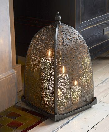 Moorish Iron Windlight. @Fritillaria - This eases my fear paranoia of candles burning my place down.