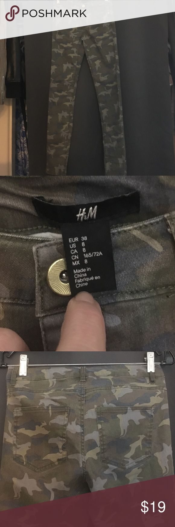 """H&M camo jeans sz 8 Worn once. Perfect like new condition. Inseam 32"""". They are a size 8 but I think that their sizes are a little off. I'm a size 3 and they fit loosely but they fit. H&M Jeans Skinny"""