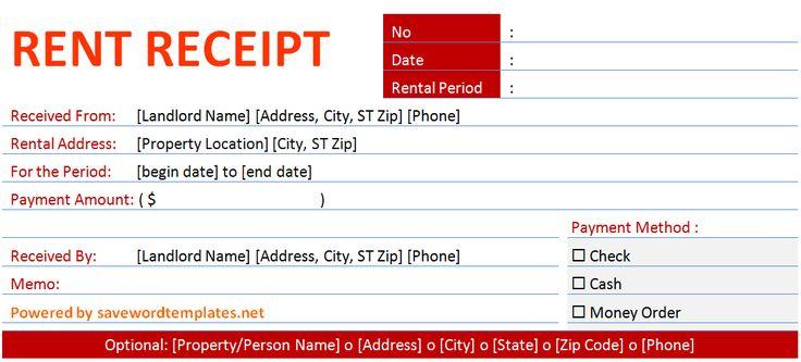 rental receipt form template