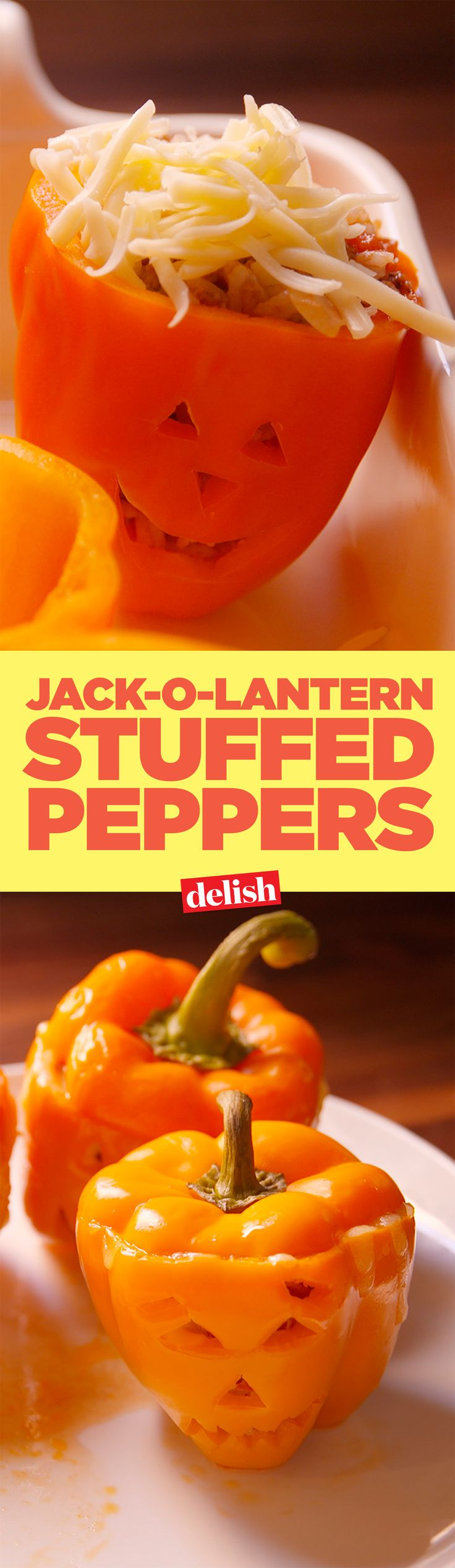 You should be making jack-o'-lantern stuffed peppers for dinner this Halloween. Get the recipe on Delish.com.