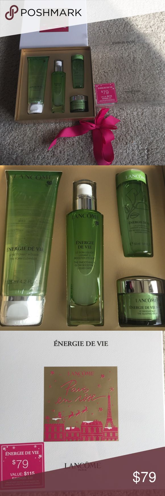 Lancôme energie de vie skincare set Brand new skincare gift set. Full size foam cleanser $55, booster hydrating serum $55. Travel size sleep mask and toner in gift box. Value $115. Never opened new. Purchased in Oct 2016 at Bloomingdales. No trade. Price firm. I have 10% bundle discount. Lancome Makeup