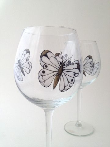 Toasted Glass - Monochrome Butterfly Wine Goblets
