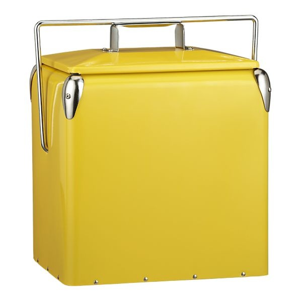 Crate and Barrel picnic cooler.  So cute, retro, and practical, assuming picnics are a thing you actually do.