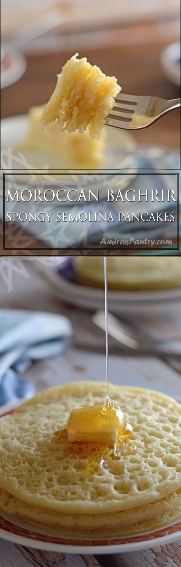 Sweet and fluffy pancakes, very spongy and light. Baghrir is a Moroccan traditional recipe for pancakes.Get this authentic moroccan recipe at AmirasPantry.com