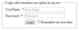 Create Login form and implement remember me next time checkbox option in Asp.Net C#,VB http://www.webcodeexpert.com/2013/09/how-to-create-login-formpage-and.html
