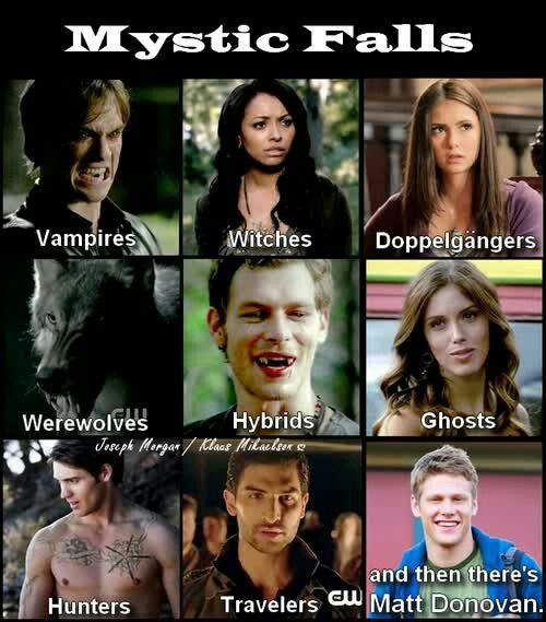 "#TVD The Vampire Diaries Damon,Bonnie,Elena,Tyler,Klaus,Vicki,Jeremy,I don't think they ever told us his name soo & Matt xD ""Mystic Falls vampires,witches,doppelganger, werewolves,hybrids,ghosts, hunters,travelers and then there's Matt Donovan."""