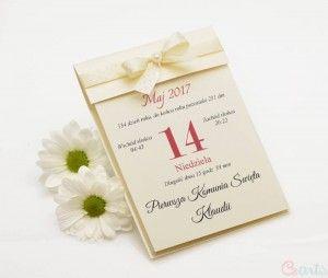 Zaproszenie komunijne kalendarz kremowy