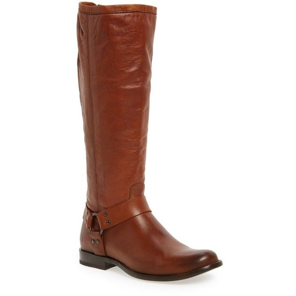Women's Frye Phillip Harness Tall Boot (5,735 MXN) ❤ liked on Polyvore featuring shoes, boots, cognac leather, leather equestrian boots, genuine leather boots, real leather boots, tall leather boots and cognac boots