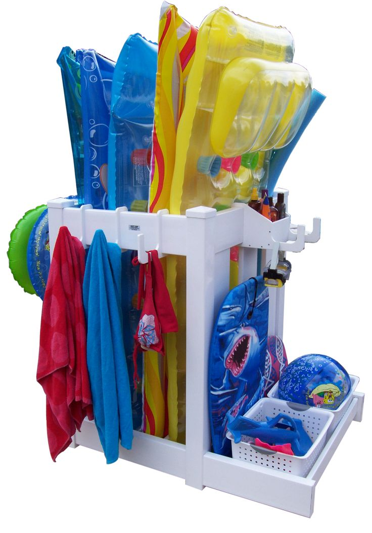organize your pool floats (that would come in handy if you have kids toys EVERYWHERE! :)