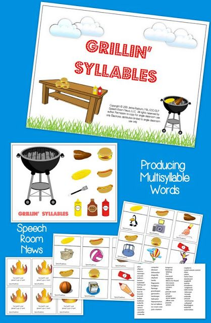Speech Room News: Grillin Syllables-fun summer theme articulation activity! Pinned by SOS Inc. Resources. Follow all our boards at pinterest.com/sostherapy for therapy resources.