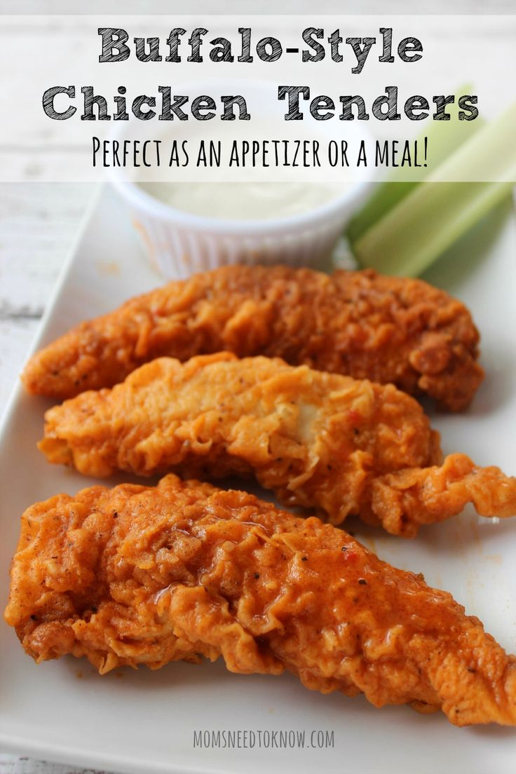 These Buffalo-style chicken tenders are so easy to make and are perfect as an appetizer for parties or even a weeknight dinner.