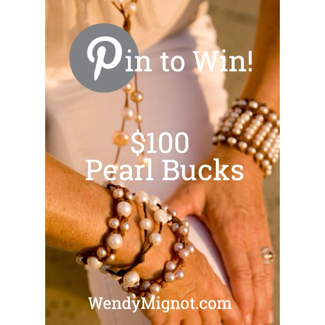 1. Follow Wendy Mignot on Pinterest 2. Create a board called Wendy Mignot Pearls 3. PIN PIN PIN! 4. Use #wendypearls 5. Share this for 10 bonus entries 6. Winner chosen on Wendy's birthday, November 13 WIN $100 in Pearl Bucks! Use them on ANY purchase at wendymignot.com. All you have to do is PIN PIN PIN! woobox.com/wm45fx