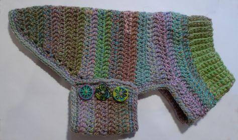 Mini+Dachshund+Sweater+to+Crochet   Trajes para perros-(cachorro) modelo en croche