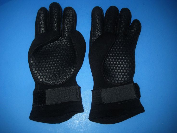 Ocean Quest Unisex Dive Gloves Size Small Black With Velcro Wrist Closure #OceanQuest