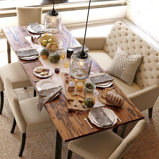 Perfect in a living room, bedroom or library, it also makes a great dining table banquette.