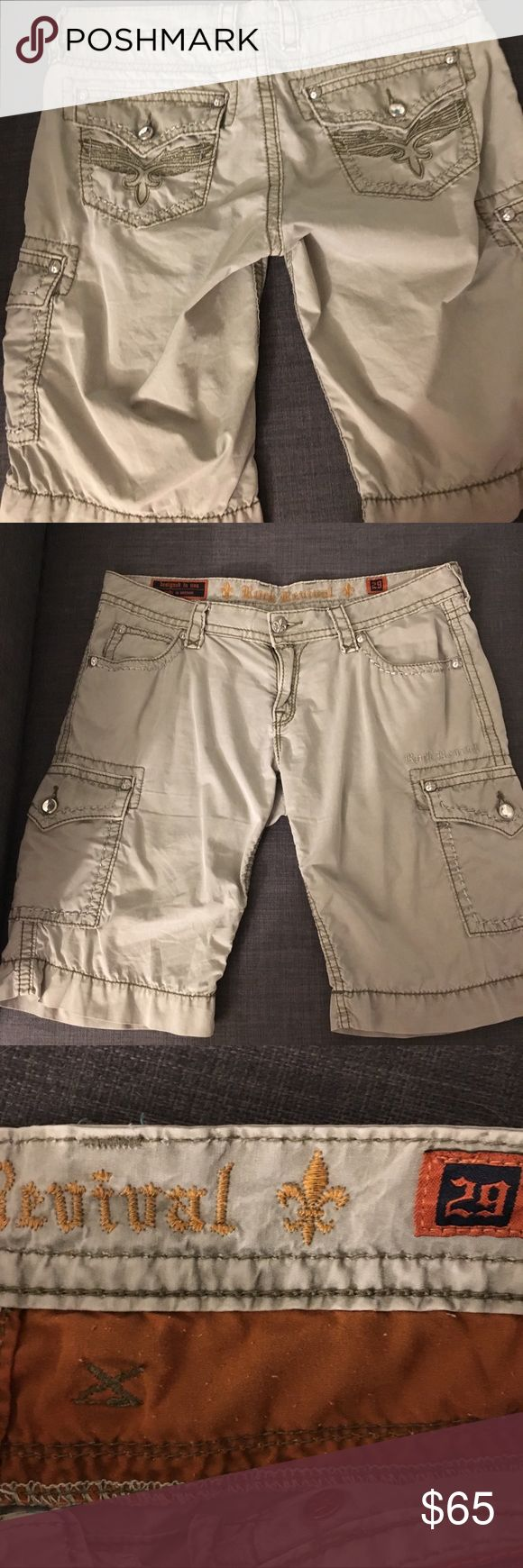 """Rock Revival shorts The only thing wrong with these shorts is that they don't fit me. There was a time, but sadly I think when I purchased these, it was wishful thinking. I bought them gently used, but never wore them. Just trying to recoup what I spent! If you like these, see other listing for white pair - everything is same but the color.  Laying flat waist is 17"""" across. Inseam is 12"""", zipper is 4"""". They look adorable rolled up too! 100% Cotton, zero stretch. Silver and green stitching…"""