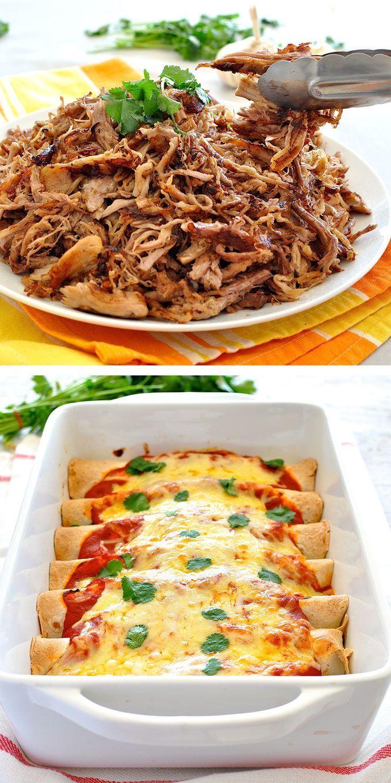 Use Pork Carnitas (or sub with chicken) to make this 10 minute prep Enchiladas! #mexican #easy #tortillas