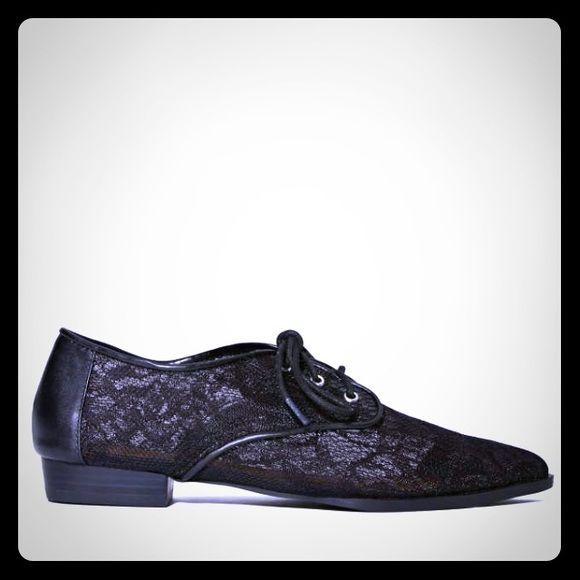 ShoeCult lace oxfords Shoe Cult black floral lace pointy oxfords. Super cute with any outfit! Brand new! Nasty Gal Shoes Flats & Loafers