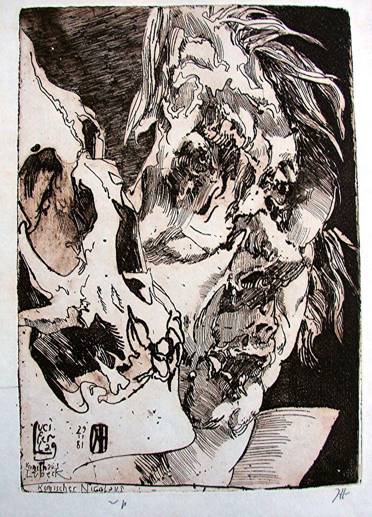 Horst Janssen, self-portrait,   Titel: Komischer Nikolaus