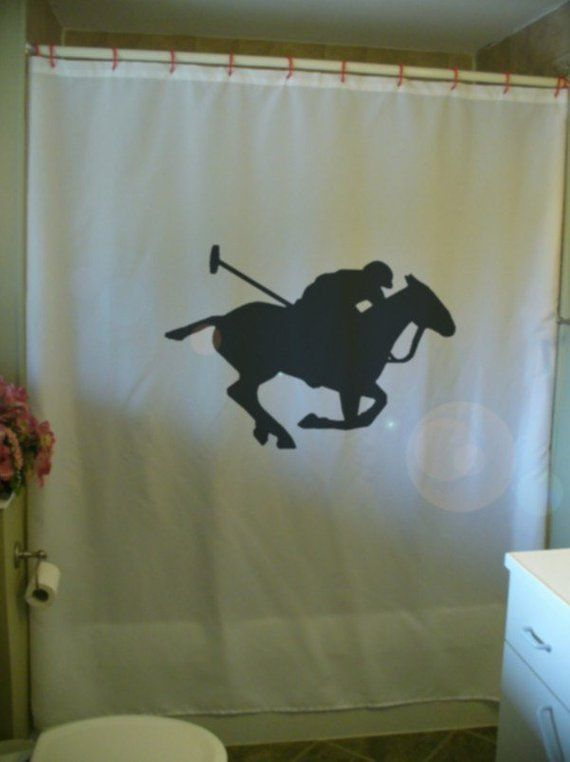 Polo Player Shower Curtain Sport Horse Rider Ride Mallet Noble