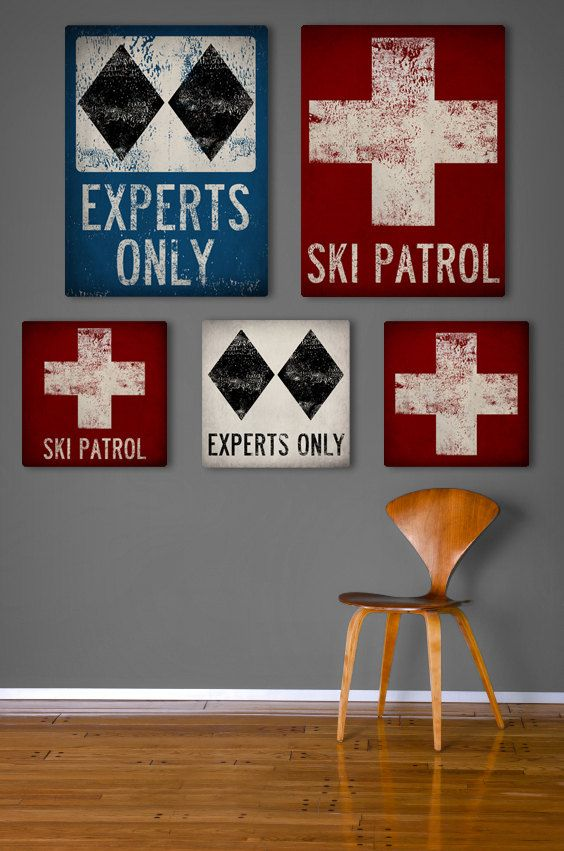 SKI PATROL Black Diamond Snowboard Graphic Art Stretched Canvas Ready-To-Hang 12x12 or 12x16 You Choose