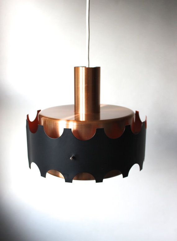 Mid Century Modern Copper Lamp 60s Hanging Ceiling Vintage Black
