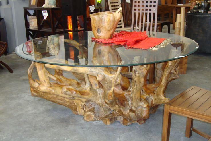 Espectacular mesa de comedor redonda con pie de ra z de - Cristales para mesas redondas ...