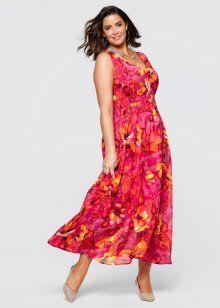 Платье макси, bpc selection, горячий ярко-розовый с рисунком