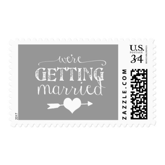 We're Getting Married Gray Wedding Postage