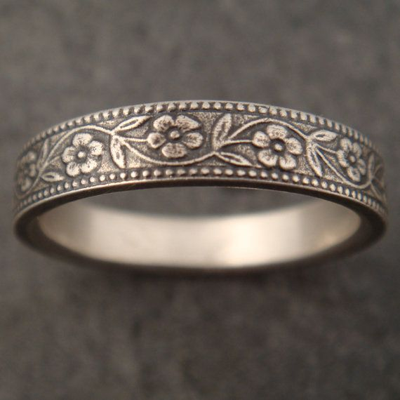 Floral Wedding Band in Sterling Silver by DownToTheWireDesigns, $125.00