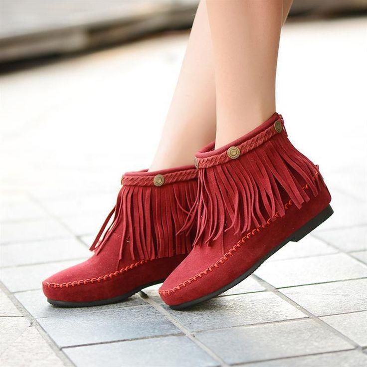 Limitado de tiempo 2014 punta redonda de la Pu invierno nuevas botas de flecos internos aumento de la nieve bellezas dulces terciopelo mujeres de(China (Mainland))