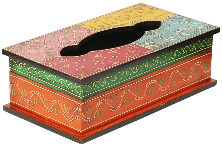 "Bulk Wholesale Handmade 11"" Mango-Wood Tissue Box Holder in Yellow, Blue, Pink, and Red & More Colors Decorated with Old World Cone-Painting Art in Traditional Motifs – Kitchen / Dining Table Accessories from India"