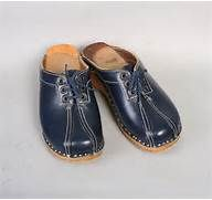 1970s LACE-UP CLOGS / Swedish Navy Blue Leather 6.5