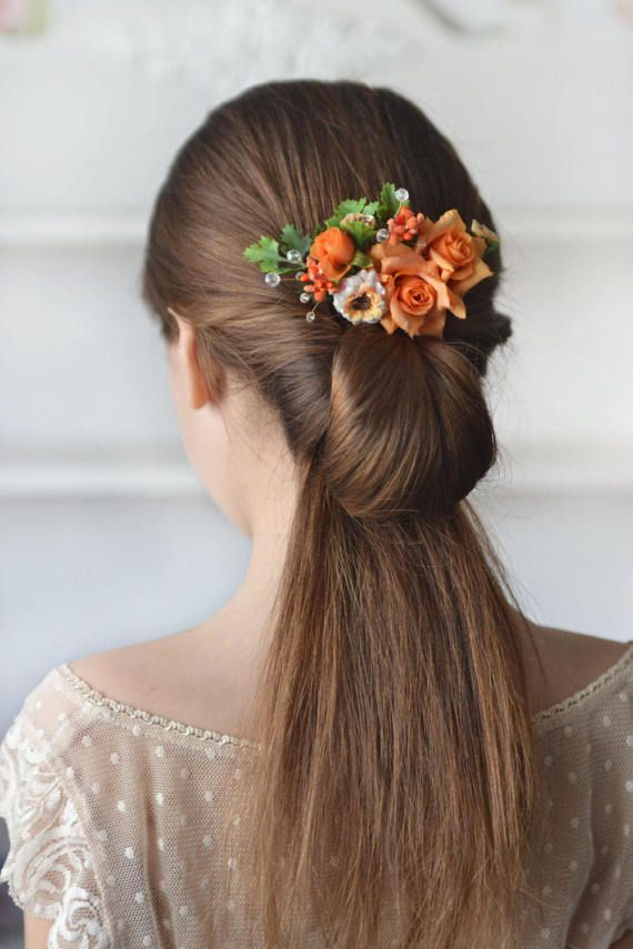 Rose Hair Comb Orange Flower Head Piece Summer Floral Comb