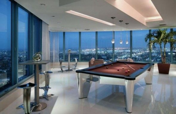 Make a Game Room Become Your Favorite Place to Relax: Wonderful Game Room Design Ideas with Glass Walls and Amazing Skyline