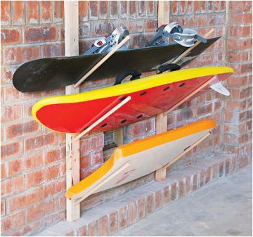 TRUE--could add in boogie boards and get them out of closet...Surfboard, ski or snowboard storage racks
