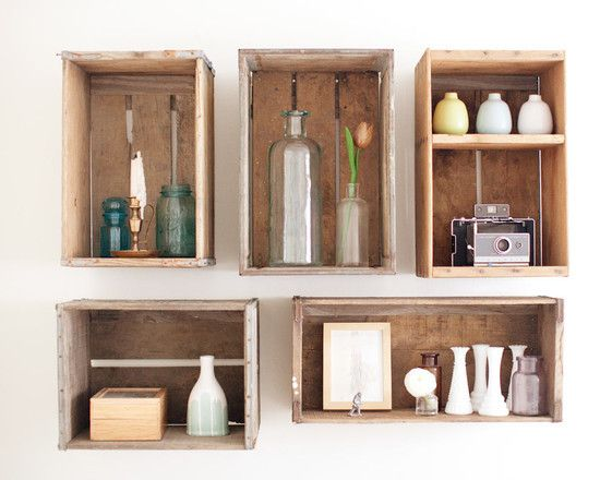 Wall Decor | Eclectic Style | Vintage Milk Crates | Upcycle Ideas | Interior Design