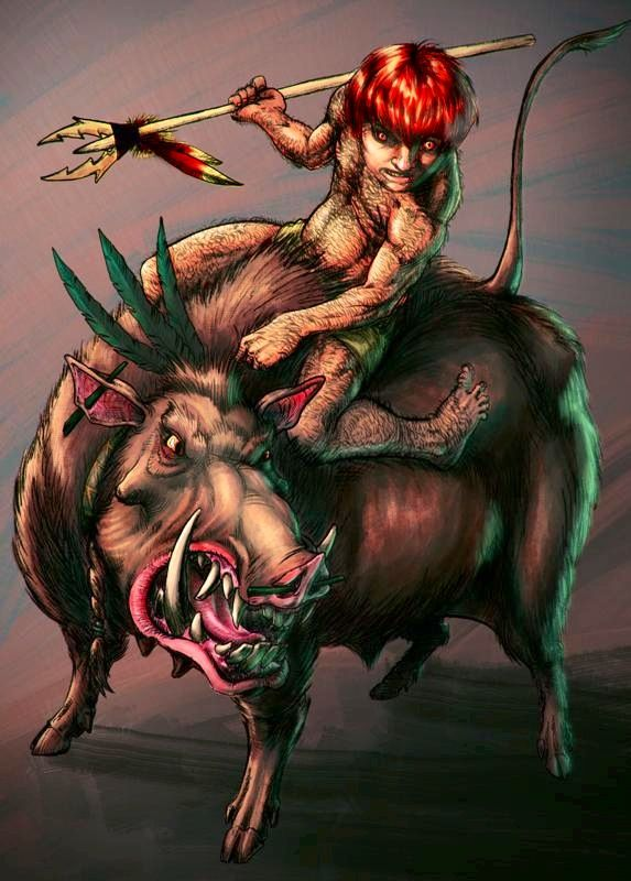 Curupira- Brazilian folklore: a male forest creature that had fire red hair and backwards feet. His tracks led to his starting point, so he would really confuse hunters and trackers. He could emit a high pitched whistle that could frighten and drive men to madness. He also rode a big collared peccary.