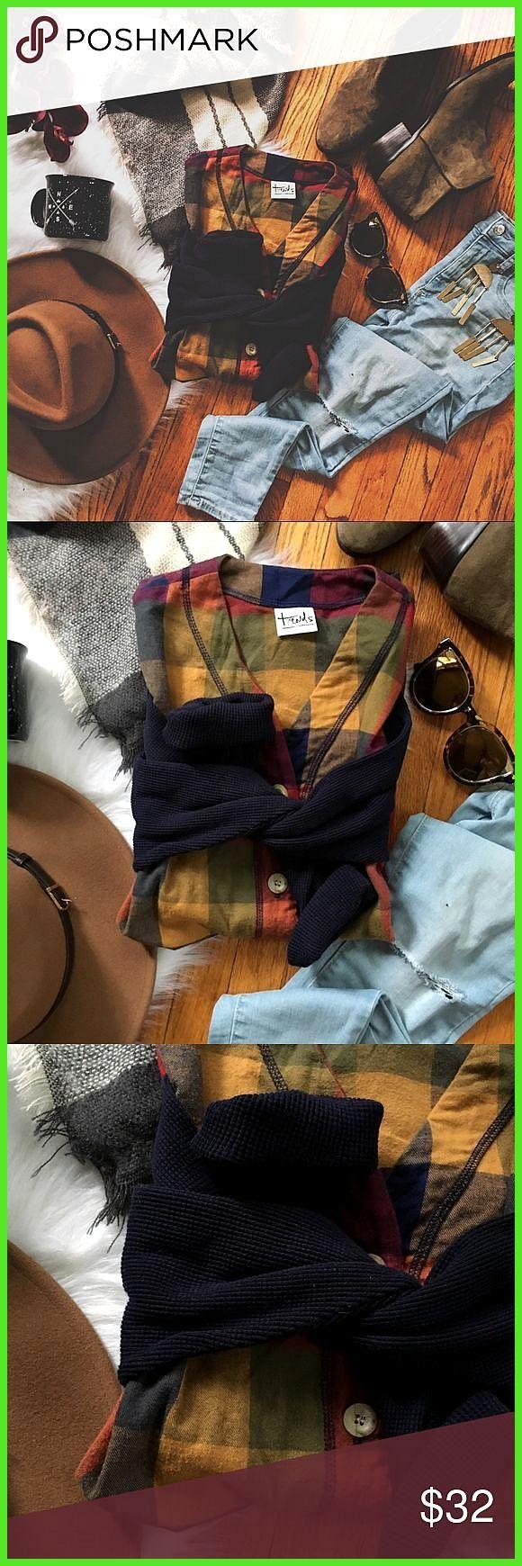 Herbst Vibes Vintage Checked Thermal Button vorne Hervorragender Zustand mit ……