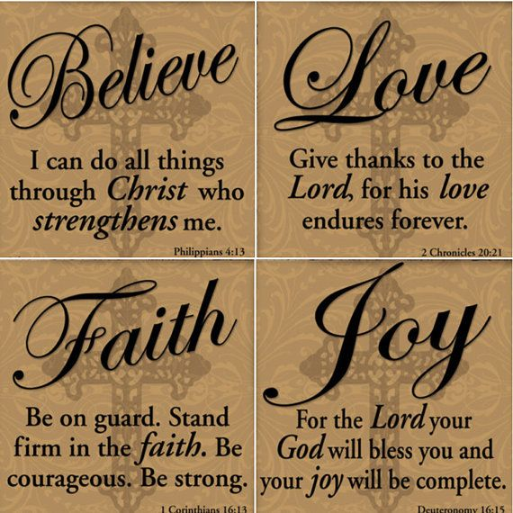 On Sale! BELIEVE Joy Faith Love Tile Coasters - Set of Four - Housewares - Tan- Regious Christian- Ceramic - Home Decor