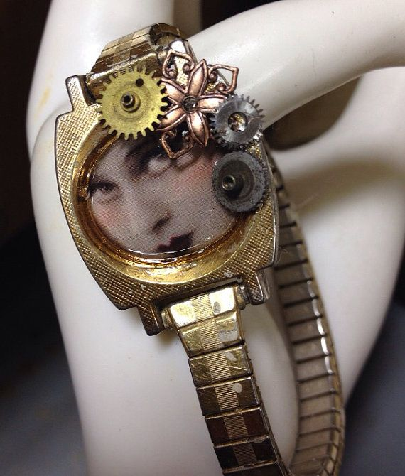 Trudy Vintage  recycled watch bracelet -steampunk