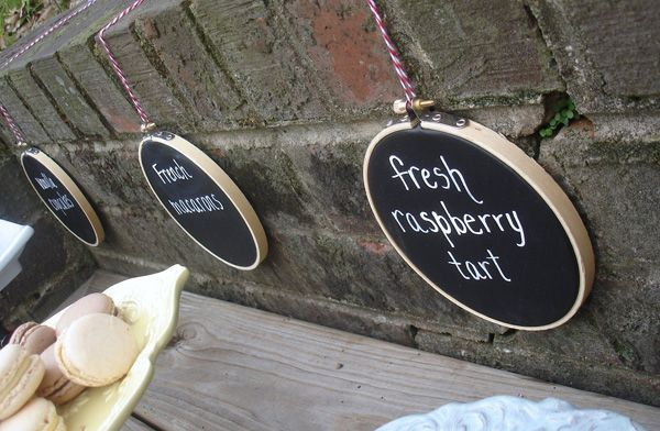 Embroidery Hoops painted w/chalkboard paint