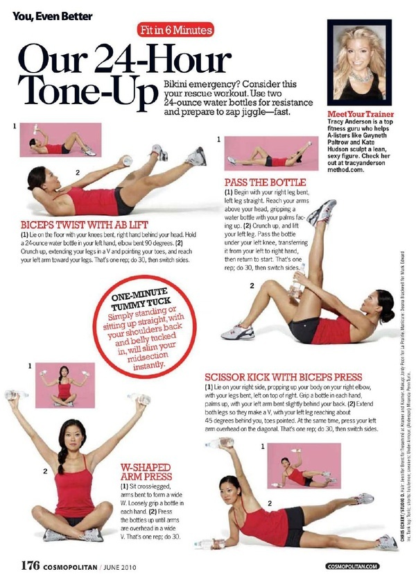 24-hr Tone Up; Tracy Anderson Method in Cosmopolitan; Fit in 6 minutes column fitness